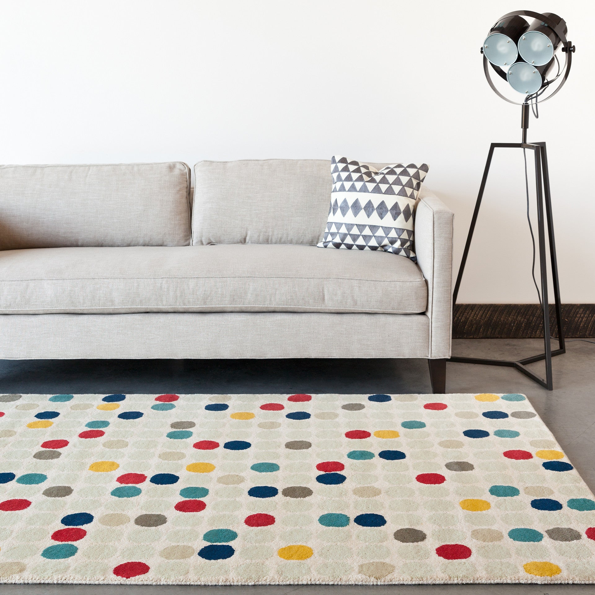 Chandra Stella Patterned Contemporary Wool Beige Aqua Area: Stella Collection Hand-Tufted Area Rug In Cream, Red