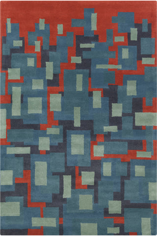 Stella Collection Hand-Tufted Area Rug in Blue, Red, & Charcoal design by Chandra rugs