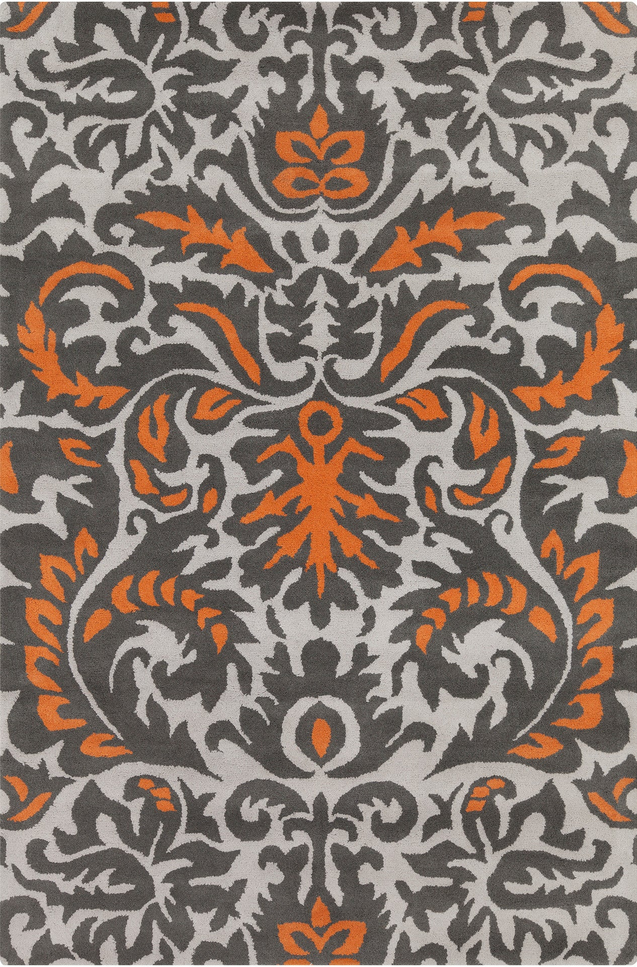 Stella Collection Hand Tufted Area Rug In Grey Orange