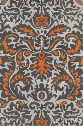 Stella Collection Hand-Tufted Area Rug in Grey, Orange, & White design by Chandra rugs