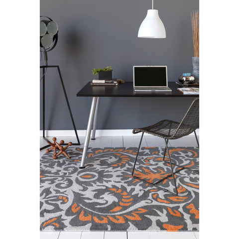 Stella Collection Hand-Tufted Area Rug in Grey, Orange, & White