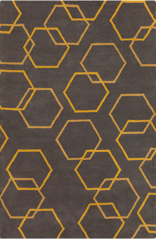 Stella Collection Hand-Tufted Area Rug in Charcoal & Yellow design by Chandra rugs