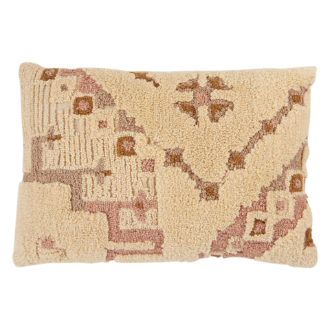 Kezia Tribal Pillow in Cream & Light Pink