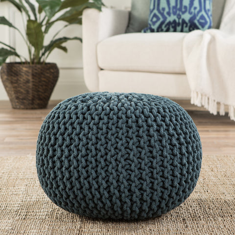 Visby Teal Textured Round Pouf
