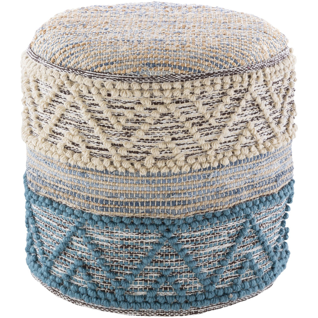 Sydney SYPF-001 Woven Pouf in White & Dark Blue by Surya