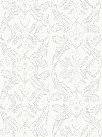 Salad Days Wallpaper in Cream, Grey, and Silver design by Juju