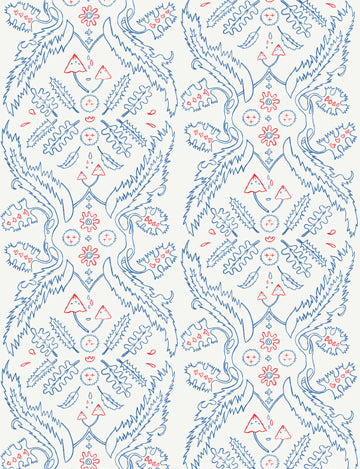 Sample Salad Days Wallpaper in Cream, Navy, and Red design by Juju
