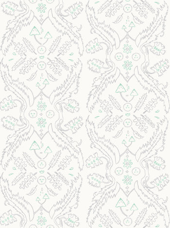 Salad Days Wallpaper in Cream, Quartz, and Celadon design by Juju