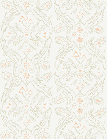 Salad Days Wallpaper in Straw, Cream, and Gloaming Neon Orange design by Juju
