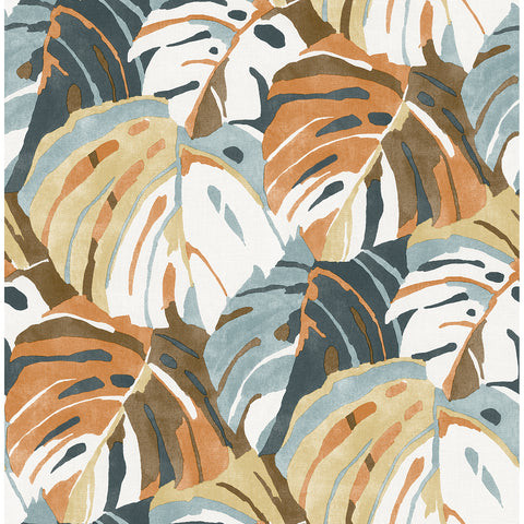 Samara Monstera Leaf Wallpaper in Orange from the Pacifica Collection by Brewster Home Fashions