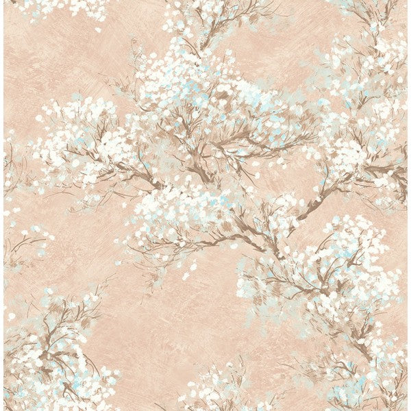 Sample Cherry Blossom Wallpaper in Peach from the French Impressionist Collection by Seabrook Wallcoverings