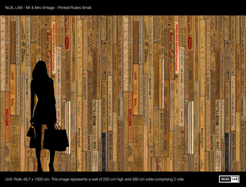 Printed Rulers Wallpaper Small design by Mr. and Mrs. Vintage for NLXL Wallpaper