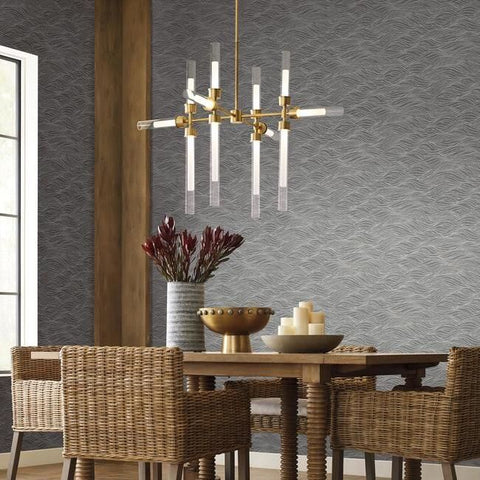 Sand Crest Wallpaper in Silver from the Botanical Dreams Collection by Candice Olson for York Wallcoverings