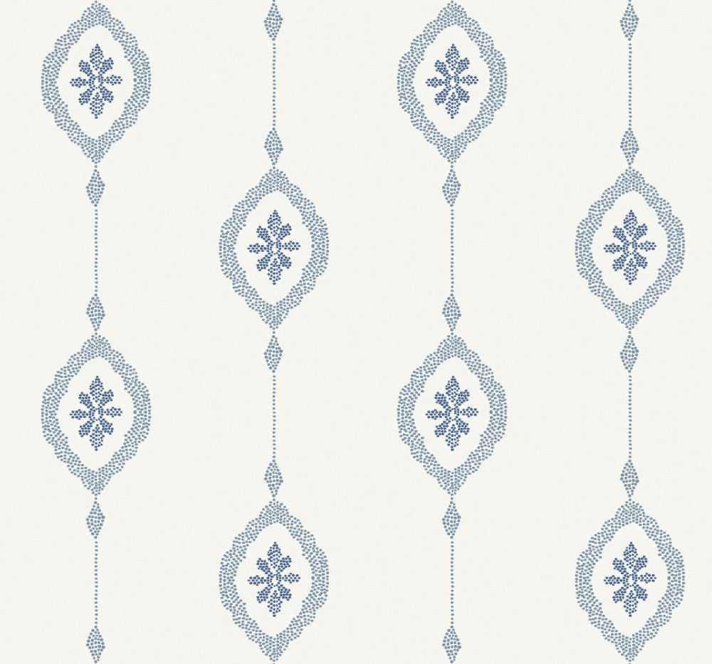 Sample Sand Dollar Stripe Wallpaper in Coastal Blue from the Beach House Collection by Seabrook Wallcoverings
