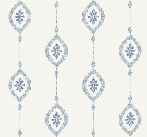 Sand Dollar Stripe Wallpaper in Coastal Blue from the Beach House Collection by Seabrook