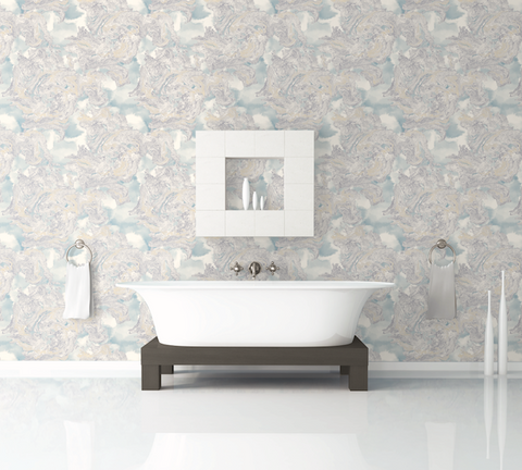 Satellite Wallpaper in Grey, Blue, and Cream from the Transition Collection by Mayflower