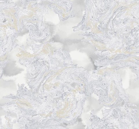 Satellite Wallpaper in Grey, Cream, and Gold from the Transition Collection by Mayflower