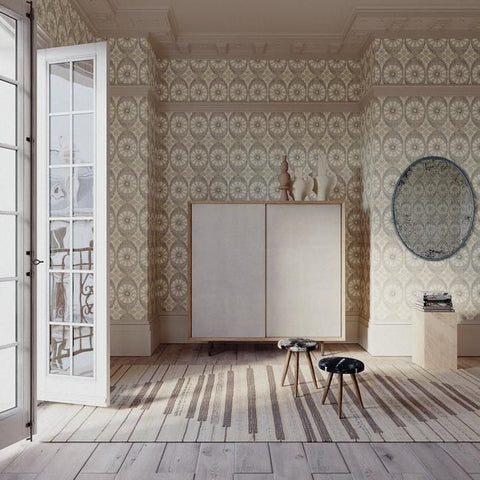 Savarin Wallpaper in Slate by Christiane Lemieux for York Wallcoverings