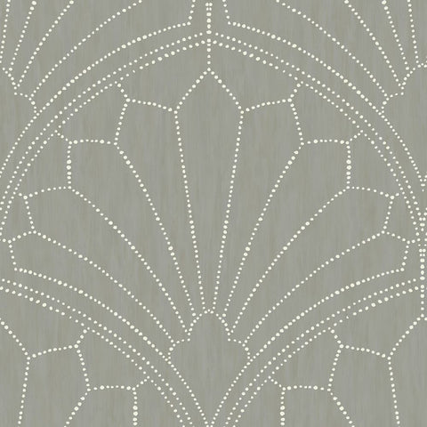 Scallop Medallion Wallpaper in Cinder Grey and Ivory from the Boho Rhapsody Collection by Seabrook Wallcoverings