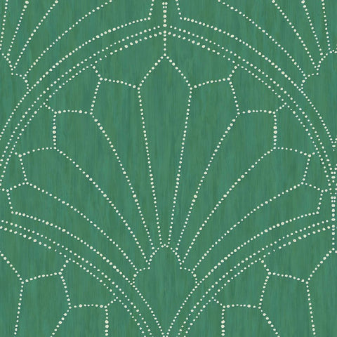 Scallop Medallion Wallpaper in Jade and Ivory from the Boho Rhapsody Collection by Seabrook Wallcoverings