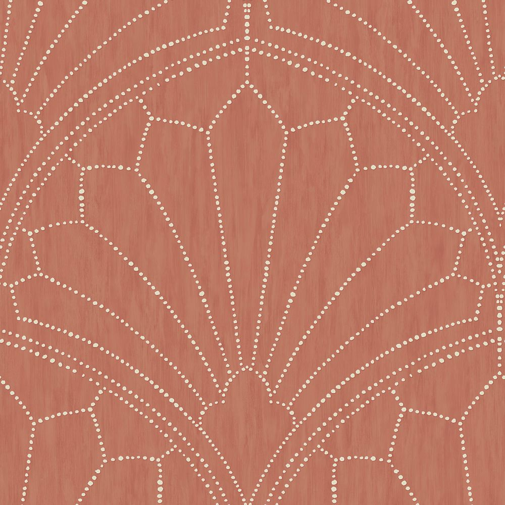 Sample Scallop Medallion Wallpaper in Redwood and Ivory from the Boho Rhapsody Collection by Seabrook Wallcoverings