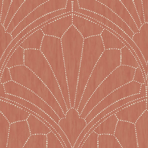Scallop Medallion Wallpaper in Redwood and Ivory from the Boho Rhapsody Collection by Seabrook Wallcoverings