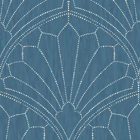Scallop Medallion Wallpaper in Steel Blue and Ivory from the Boho Rhapsody Collection by Seabrook Wallcoverings