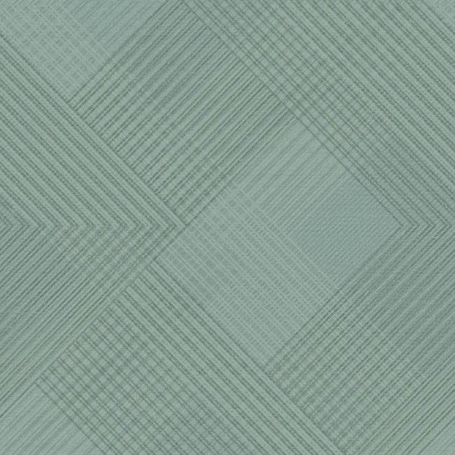 Scandia Plaid Wallpaper in Blue and Metallic from the Norlander Collection by York Wallcoverings