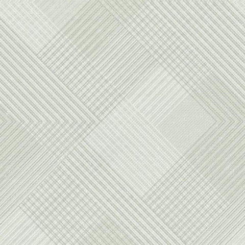 Scandia Plaid Wallpaper in Grey, Ivory, and Metallic from the Norlander Collection by York Wallcoverings