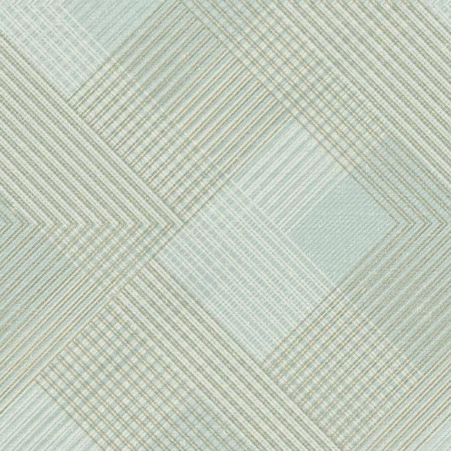 Scandia Plaid Wallpaper in Soft Blue and Metallic from the Norlander Collection by York Wallcoverings