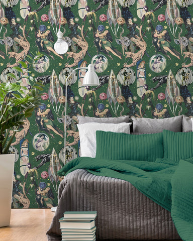 Sci-Fi Comics Wallpaper in Beige, Blue, and Green from the Eclectic Collection by Mind the Gap