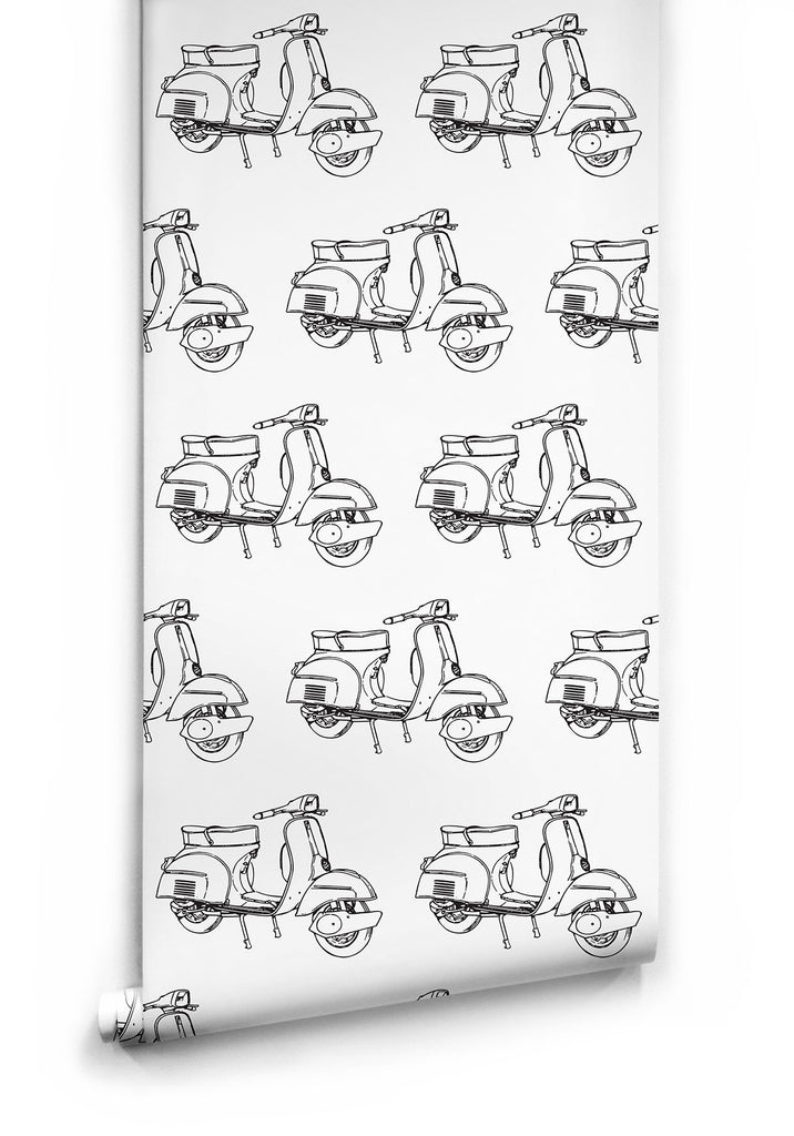 Sample Scooters Wallpaper by Ingrid + Mika for Milton & King