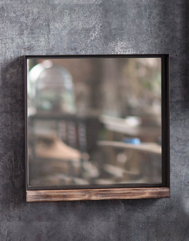 Medium Rustic Recycled Metal Square Mirror w/ Wood Shelf design by Vagabond Vintage