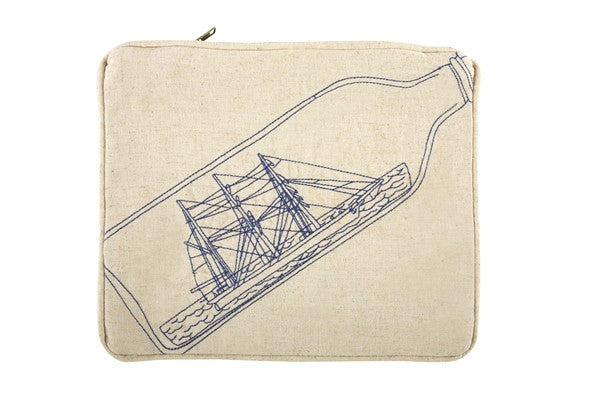 Scrimshaw Ship-in-Bottle Flax Pouch design by Thomas Paul