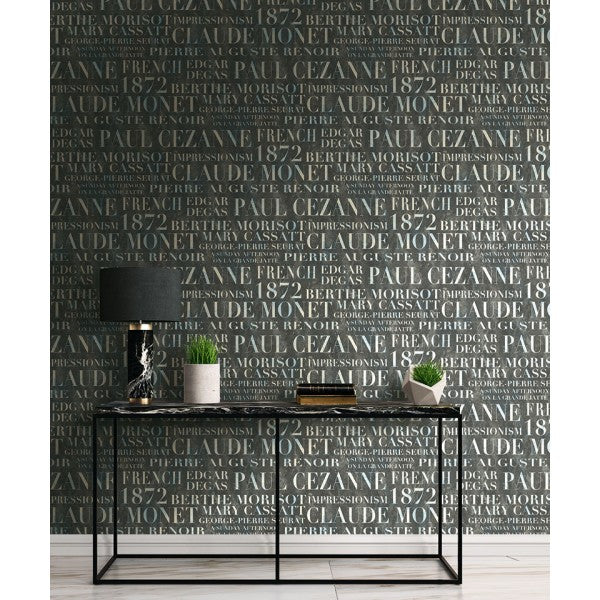 Script Wallpaper in Black and Off-White from the French Impressionist Collection by Seabrook Wallcoverings