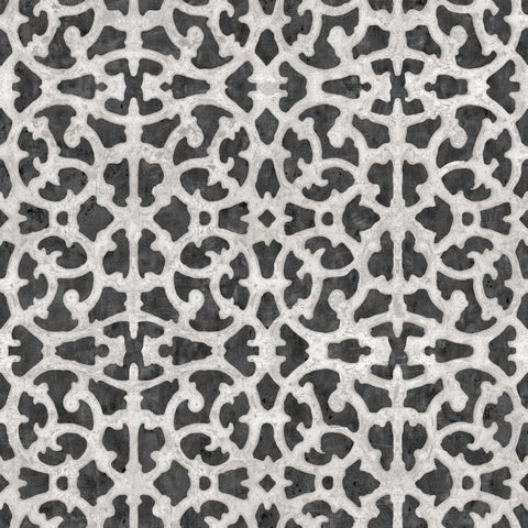 Scroll Gate Peel & Stick Wallpaper in Black and White by RoomMates for York Wallcoverings
