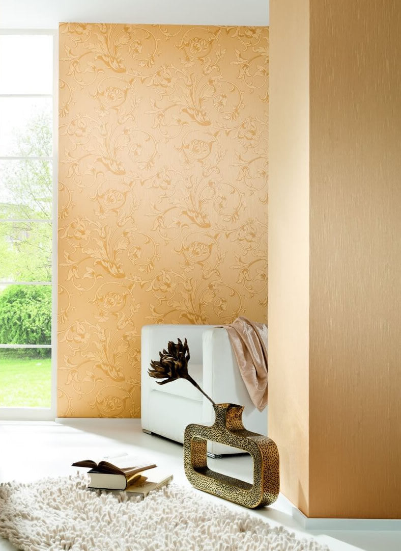 Scroll Leaf and Ironwork Wallpaper in Beige design by BD Wall ...