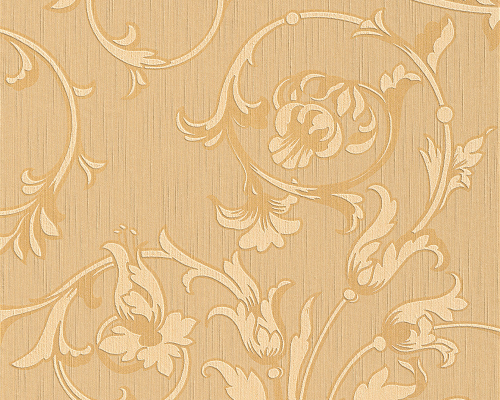Scroll Leaf and Ironwork Wallpaper in Beige and Orange design by BD ...