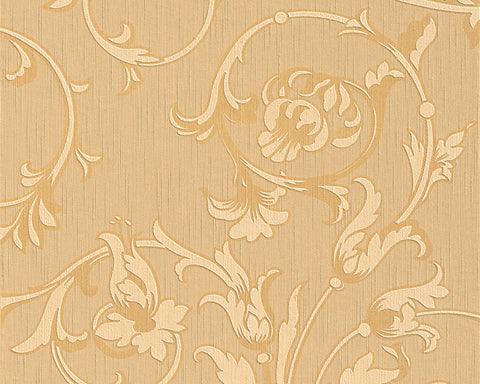 Scroll Leaf and Ironwork Wallpaper in Beige and Orange design by BD Wall