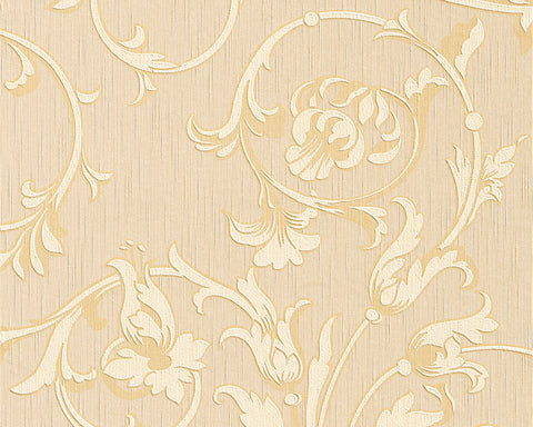 Scroll Leaf and Ironwork Wallpaper in Beige and Yellow design by BD Wall