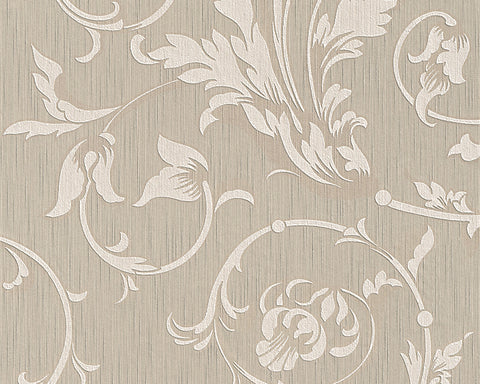Scroll Leaf and Ironwork Wallpaper in Beige design by BD Wall