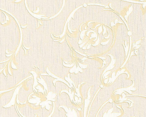 Scroll Leaf and Ironwork Wallpaper in Cream and Beige design by BD Wall
