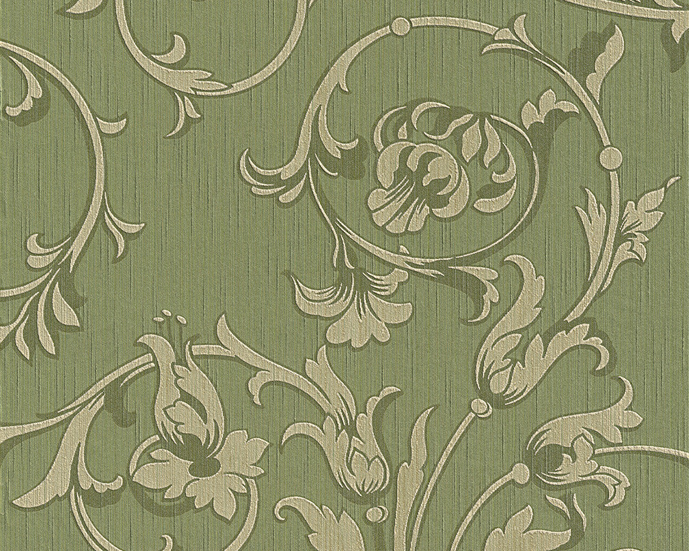 Scroll Leaf and Ironwork Wallpaper in Green design by BD Wall