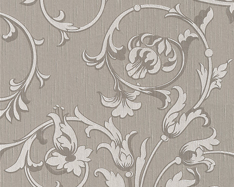 Scroll Leaf and Ironwork Wallpaper in Grey and Neutrals design by BD Wall