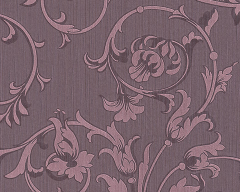 Scroll Leaf and Ironwork Wallpaper in Purple design by BD Wall