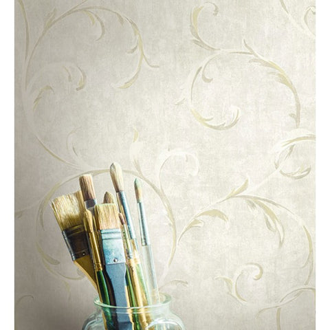 Scroll Wallpaper in Gold and Neutrals from the French Impressionist Collection by Seabrook Wallcoverings