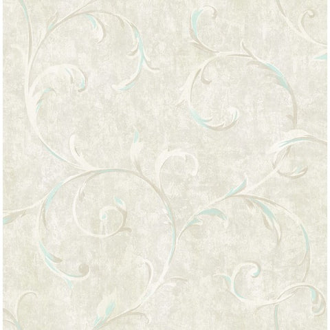 Scroll Wallpaper in Blue and Neutrals from the French Impressionist Collection by Seabrook Wallcoverings