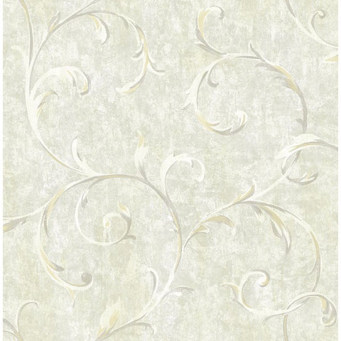 Scroll Wallpaper in Neutrals and Gold from the French Impressionist Collection by Seabrook Wallcoverings