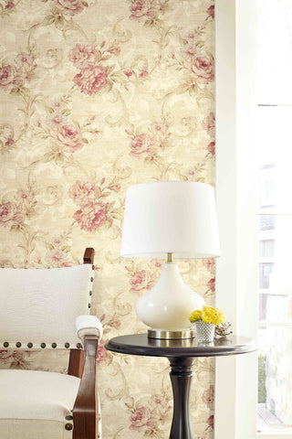 Scrolling Floral Wallpaper from the Nouveau Collection by Wallquest