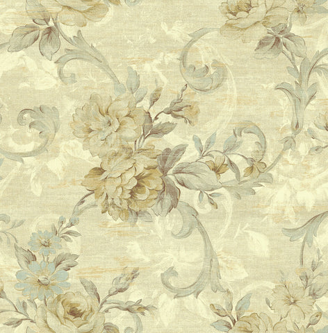Scrolling Floral Wallpaper in Buttercup from the Nouveau Collection by Wallquest